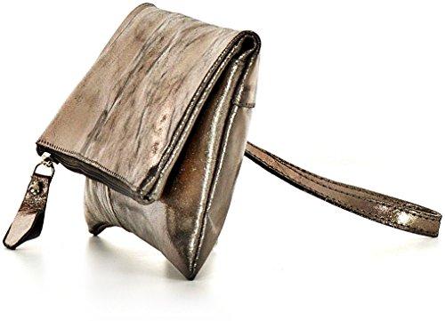 CNTMP, Borsa da Donna, Clutch, Borsa a Mano, Pochette, Borsetta da Sera, Effetto Metallico, Con Tasca in Pelle, 25x13x2,5cm (L x H x P) antracite