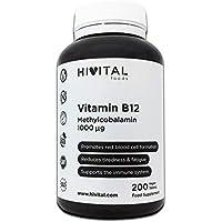 Vitamina B12 Metilcobalamina 1000 mcg | 200 comprimidos (Más de 6 meses de suministro)