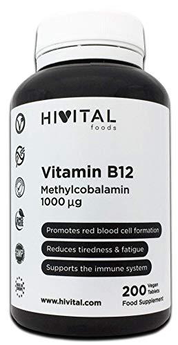 Vitamina B12 Metilcobalamina 1000 mcg | 200 comprimidos (Más de 6 meses de suministro) | Contribuye a la formación de glóbulos rojos, reduce el cansancio y la fatiga, y mejora el sistema inmunológico.