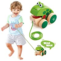 Baby Toy Frog Pull Along Wooden Eco-Friendly Walker Educational Game For Baby & Children Boy, Girl For Age Group 12M+
