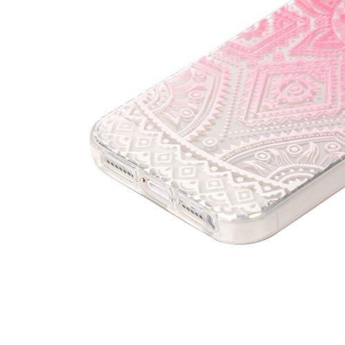 JIAXIUFEN Neue Modelle TPU Silikon Schutz Handy Hülle Case Tasche Etui Bumper für Apple iPhone 5 5S SE - Blue Purple Tribal Mandala Color12
