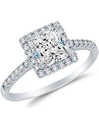 Sólido 14 K oro blanco alta calidad CZ cúbico zirconia Halo anillo de compromiso – corte