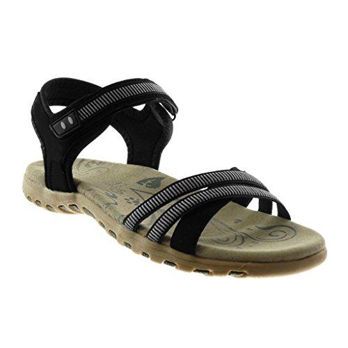 Angkorly Damen Schuhe Sandalen - Knöchelriemen - Sneaker Sohle - Bicolor - Multi-Zaum Flache Ferse 2.5 cm Schwarz