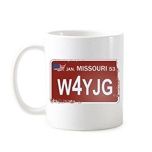 DIYthinker Usa American Car License Plate Nummer Missouri Kreative Illustration Muster klassischer Becher weiße Keramik Keramik-Cup Milch Kaffee mit Gr Mehrfarbig (Missouri Plate License)
