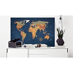 murando Cuadro en Lienzo 60×40 cm – Poster Mapa del Mundo 1 Parte Impresión en Material Tejido no Tejido Impresión Artística Imagen Gráfica Decoracion de Pared Continente k-C-0048-b-c
