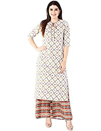 Khushal K Women's Cotton Printed Kurta With Printed Palazzo Set