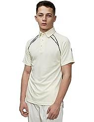 Gunn & Moore Teknik Camisa de Cricket Junior, Blanco/Azul Marino, M Niños