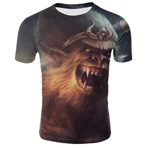 Tyoby Sommer Herren Fun T-Shirt Horror Tierdruck Kurzärmliges Oberteil Freizeit Tops Mode Herrenbekleidung (Grau,XXXL)