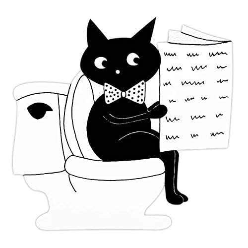 Plaque de porte de toilettes chat noir, signalétique humoristique toilettes