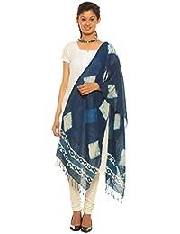 Indo Mood   Bagru Hand Block Printed Indigo Blue Hand Woven Pure Linen Style 2 Stole