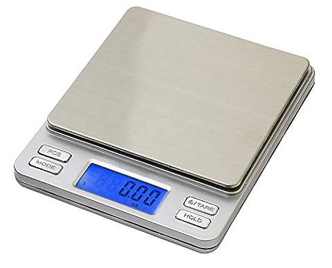 Smart Weigh Digitale Taschenwaage, Feinwaage, Goldwaage, Mit Einem Hintergrundbeleuchteten LCD-Bildschirm, Tara-, Hold-, Und Stückzahl (PCS)-Funktionen 500 x 0,01 g (2 Deckel Inbegriffen)