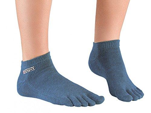 Knitido Track & Trail Ultralite Fresh Seasons   kurze Zehensocken für Sport und Freizeit, geeignet für Zehenschuhe, einfarbig in 7 Farben, für Damen und Herren (unisex), aus Baumwolle (39%) und kühlender Coolmax®-Faser, Größe:35-38;Farbe:Navy
