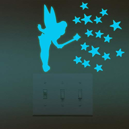 TEBOS pour décoration d'intérieur - Autocollants Lumineux Super Lumineux pour décoration de Maison DIY Amusant Chat Mignon Interrupteur Lumineux Salon Autocollant Fluorescent 1pc Blue Girl
