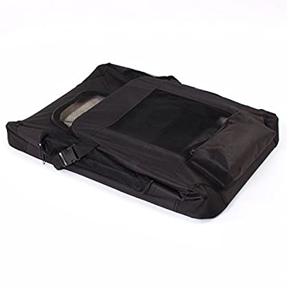 TRESKO® Folding Portable Soft Fabric Pet Carrier with Fleece Mat and Food Bag (S 49 x 32 x 35 cm, Beige) 6
