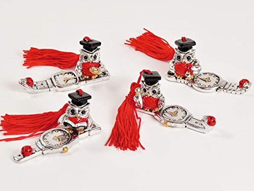 8 pezzi gufo gufetto resina su orologio con tocco bomboniera laurea