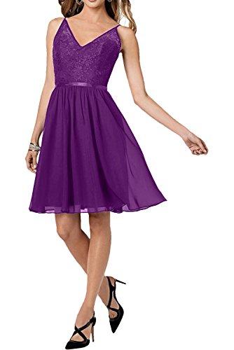 Milano Bride Traube Spaghetti-traeger Spitze Abendkleider Partykleider Promkleider Wadenlang A-linie Rock Kurz Violett