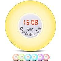 QQA Bedside Wecker, Nachtlicht Nachttischlampe mit Natur klingt FM Radio, Touch Control preisvergleich bei billige-tabletten.eu