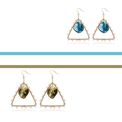 BFAWZ Natürliche Muschel Stein Perlen Ohrringe, europäische und amerikanische handgemachte kreative geflochtene Kupferdraht hypoallergen Ohrringe (2 Paare),AB (Ab Stein Ohrringe)