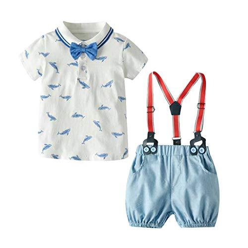 Kinderkleidung Kleinkind Kinder Baby Jungen Kinderanzug Babykleidung Junge Gentleman Anzüge Polo Shirt+Hosenträgerhose+Bogen Dreiteiligen Bekleidungsset (120, Hellblau)