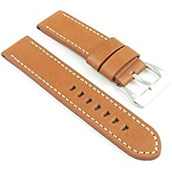 StrapsCo Thick Tan Leather Watch Strap with White Stitching size 26mm