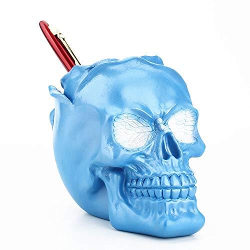 Blau schädel stifthalter container horror lustige schädel multifunktions aufbewahrungsbox blumentopf bleistift topf, geschenke für halloween home office dekoration ornament - Sammlung Bleistift Schublade