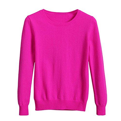 VOBAGA Womens Casual Elegante o collo manica lunga di colore solido del pullover camicetta Tops Maglione Rose rosse