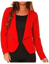 dmarkevous - Veste de Blazer Femme Rouge avec Poches et Zip doré fictif -  Unique, a9def75eaada