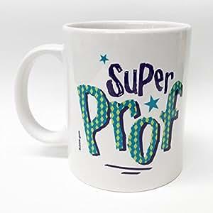 """BUBBLE GUM - Mug Super prof """"bleu"""" - Blanc"""