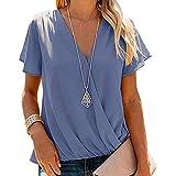 Camisetas de Mujer Camisa Manga Corta T-Shirts Cuello en v Color sólido Suelto Transpirable