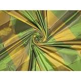 Seide Taft Stoff grün & gelb Farbe Plaids 137,2cm by the