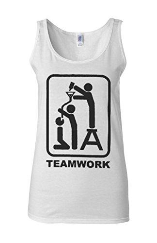 Team Work Beer Bong Funnel Pipe Novelty White Femme Women Tricot de Corps Tank Top Vest **Blanc
