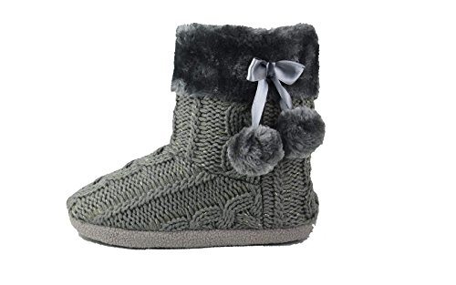 ladies-slippers-womens-indoor-slipper-boots-with-knitted-upper-and-pom-poms-mediumuk5-6-grey