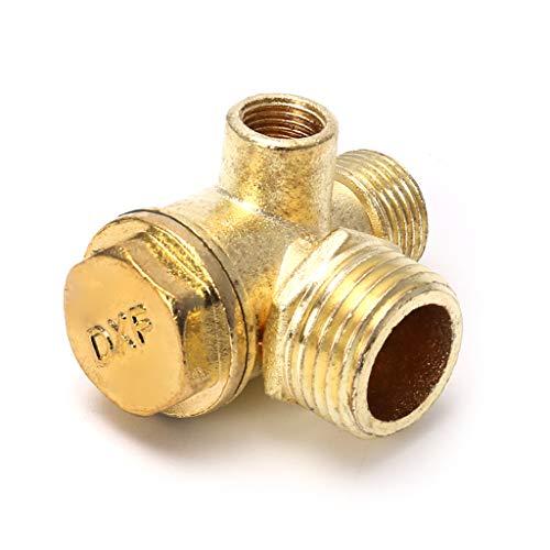 JunYe 3-Port-Zinklegierungs-Luftkompressor-Rückschlagventil, zentrales pneumatisches Ventil, Gewinde 90 Grad -