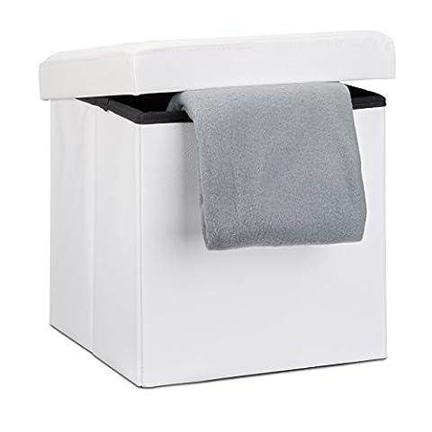 Relaxdays Tabouret pliant en similicuir pouf de rangement pliable repose-pieds de stockage carré 38 x 38 x 38 cm avec couvercle amovible assise table ottoman coffre chaise, blanc