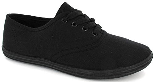LADIES WOMENS PLIMSOLES LACE UP FLAT PUMPS PLIMSOLLS CANVAS GIRLS TRAINERS SIZE 6 UK Black 39 EU