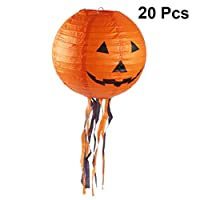Uonlytech 10pcs Halloween Pumpkin Paper Lanterns Party Decorations Outdoor Hanging Lantern with Tassel