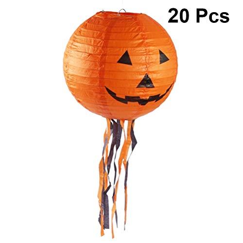 Mobestech 20pcs Halloween Kürbis Laternen Papier hängen Runde elektronische Nachtlicht mit Quaste für Halloween Scary Theme Party Haunted House Decor