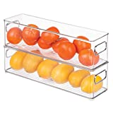 iDesign 70430M2EU Aufbewahrungsboxen für Kühlschrank Gefrierschrank Küche, 2 Stück, 10,16 x 10,16 x 36,83 cm, durchsichtig, plastik