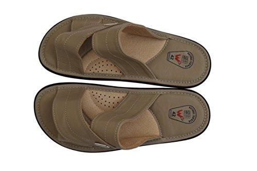 Natleat Slippers  Genuine Soft Calf Leather Sandals Flip-flop, Herren Sandalen Schwarz schwarz Grau