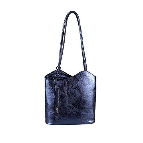 OBC Made in Italy Ledertasche Damentasche 2in1 Handtasche Rucksack Umhängetasche Schultertasche Tablet/Ipad mini bis ca. 10-12 Zoll 27x29x8 cm (BxHxT) (Schwarz) Dunkelblau (Metallic)