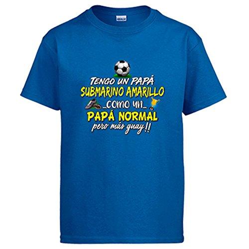 Diver Camisetas Camiseta Tengo Un Papá Submarino Amarillo Como Un Papá Normal Pero Más Guay - Azul Royal, L