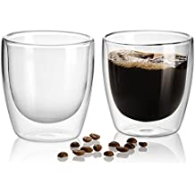 jecobi doble pared con aislamiento taza de café Espresso – Juego de 2 tazas de té