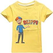 Blippi Camiseta Suave Puro algodón Cuello Redondo Manga Corta Camiseta Simple Ocio impresión Top niños y niñas