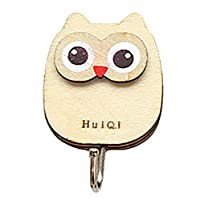 Owl Wall Hook,Wooden Door Strong Sticky Hook Key Holder Organiser for Home Decoration