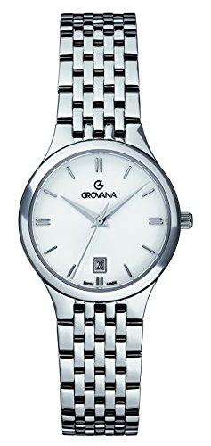 GROVANA 5013.1133 Women's Quartz Swiss Watch with White Dial Analogue Display and Silver Stainless Steel Bracelet