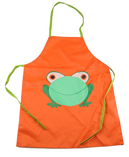 Super Cute Frog Easy Clean Wipable PVC Cooking Painting Apron Smock Gift idea For Boys Girls Orange