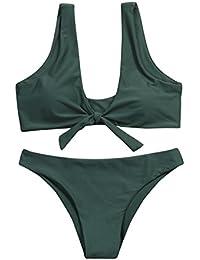 Longra Ropa Bañadores Bikinis,Longra Mujeres Bikinis Push Up de Cuello en V Acolchado Tejido Bra Bathingsuit Bañador 2 Pieza Set/Ropa Playa Swimsuit/Deportivos Bañador