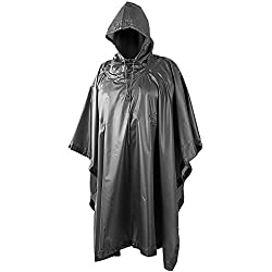 HELIKON HOODED MILITARY STYLE PONCHO BLACK WATERPROOF RIPSTOP