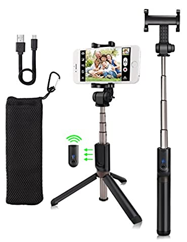 kungfuren Selfie Stick Phone Tripod for iPhone Tripod with Detachable Bluetooth Remote Camera Shutter for iPhone 6s 6 Plus Samsung Galaxy Nexus Moto Android iOS Smartphones Selfie Stick iPhone 7