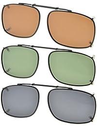 Eyekepper Grey/Brown/G15 Lens 3-pack Clip-on Polarized Sunglasses 52x36MM